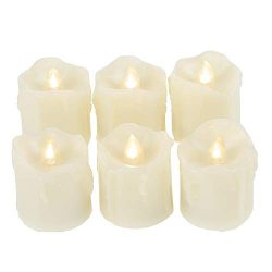 Battery Operated LED Votive Candles with Timer Realistic Flickering Timing Flameless Tea Lights  ...