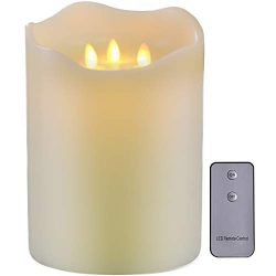 TELOSMA 3-Moving Wicks Large Candles, Flameless with Timer and Remote, Battery Operated for Home ...