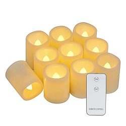 Eldnacele Flameless Flickering Votive Battery Operated Tealight Candles with Remote Control, War ...