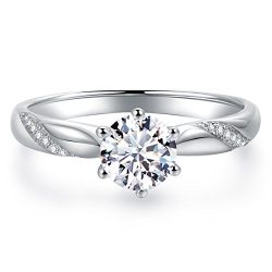Stunning Flame Solitaire Engagement Ring Cubic Zirconia CZ in White Gold Plated Sterling Silver  ...