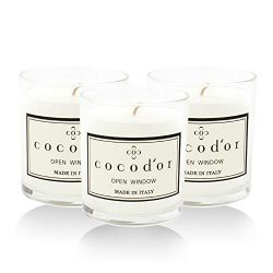Cocod'or Premium Jar Scented Candles 3 Pack, Open Window, 30-40 Hour Extended Burn Time, M ...