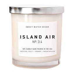 Island Air Natural Soy Wax Candle White Jar Summer Scent Tropical Fruit Sugar Orange Lemon Lime  ...