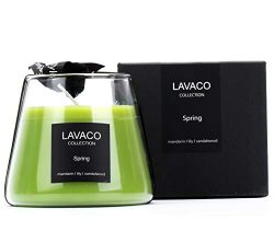 LAVACO Spring Season Scented Candles 8.4oz Jar Soy Candle Gift, Natural Aromatherapy Soy Wax wit ...