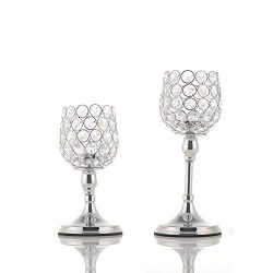 VINCIGANT Mother's Day Silver Crystal Candle Holders Set of 2 Wedding Thanksgiving, 8 and  ...