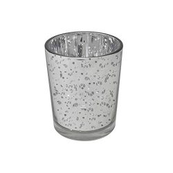 gbHome GH-6831SL75 Votive Tea Light Candle Holder, Speckled Silver Metallic Finish, Lead Free Th ...