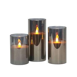 Gray Glass Battery Operated Flameless Led Candles with Timer, Warm White Flickering Light, Batte ...