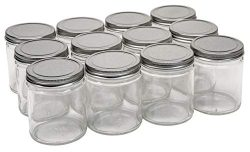 North Mountain Supply 9 Ounce Glass Straight Sided Mason Canning Jars – with 70mm Silver M ...
