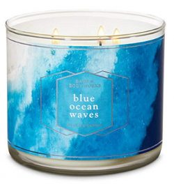 Bath and Body Works Blue Ocean Waves Scented Three Wick Candle 14.5 oz (ocean breeze, sea spray  ...