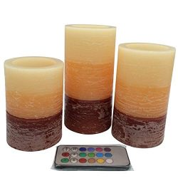 Adoria Flameless Led Candle Set of 3 Battery Pillar Candle-Tri-Layer Orange-Brown Wax Rustic Lim ...