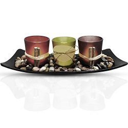 Urban Deco Natural Candlescape Set 3 Decorative Candle Holders, Rocks and Tray Tea Light Candle  ...