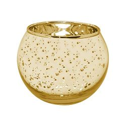 gbHome GH-6832G48 Votive Tea Light Candle Holder, Speckled Gold Metallic Finish, Lead Free Thick ...
