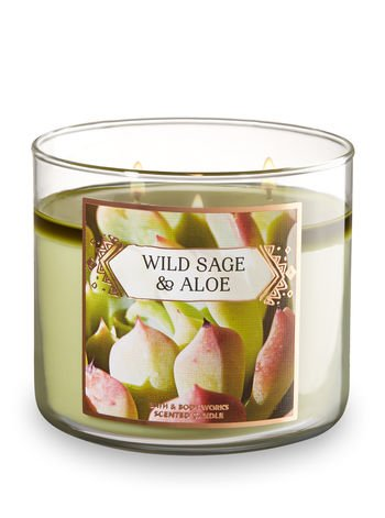 Bath and Body Works Wild Sage and Aloe Scented 3-Wick Candle 14.5 Ounce