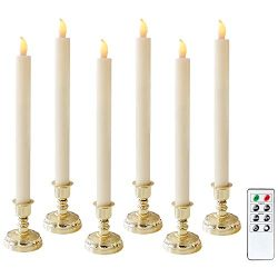 Battery Operated Flameless Taper Candles with Timer and 8-Key Remote, 6 Pack Real Wax Ivory LED  ...
