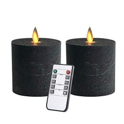 Only-us Flickering LED Flameless Candles Battery Operated with Remote Control Timers for Firepla ...