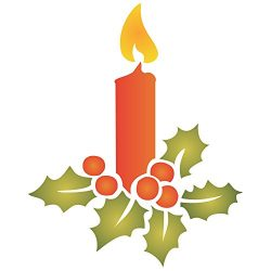 Christmas Candle Stencil – 3.25″w x 4″h – Reusable Wall Stencils for Pai ...