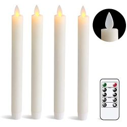 DRomance Remote Flameless Taper Candles with Timer, Moving Wick Battery Operated LED Window Cand ...