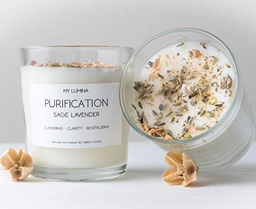My Lumina Purification Sage Lavender Candle – Smudging Chakra Balancing Healing Candle Nat ...