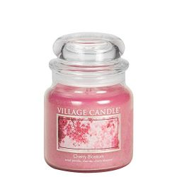 Village Candle Cherry Blossom 16 oz Glass Jar Scented Candle, Medium