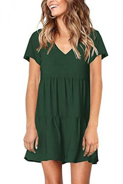 PinUp Angel Green Women's Short Sleeve Tunic Dress V Neck Loose Flowy Swing Shift Dresses