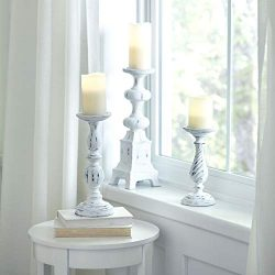 BrylaneHome White Washed Candlesticks, Set of 3 – White Washed