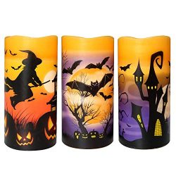 Wondise Halloween Flickering Flameless Candles with 6 Hour Timer, Battery Operated LED Real Wax  ...
