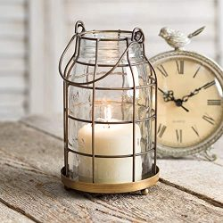 Attractive and Graceful Quart Mason Jar Candle Cage – Antique Brass Metal Lantern Candle H ...