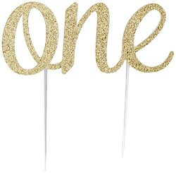 Handmade 1st Birthday Cake Topper Decoration – One – Double Sided Glitter Stock (Gold)