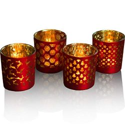 lEPECQ Votive Candle Holders, Decorative Votive Candle Holders 3.14″ H – Matte Red a ...