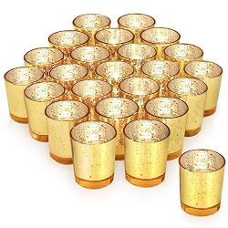 Gold Votive Candle Holder Set of 24 ,HabiLife Mercury Glass Tealight Candle Holder,Adds The Perf ...
