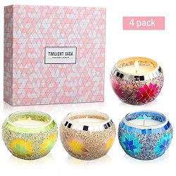 YMING Scented Candles Gift Sets of 4, Natural Soy Wax Aromatherapy Candles 4.4 Oz, Portable Trav ...