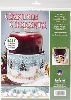 Winter Village Candle Corset Counted Cross Stitch Kit-11″X2.5″ 14 Count