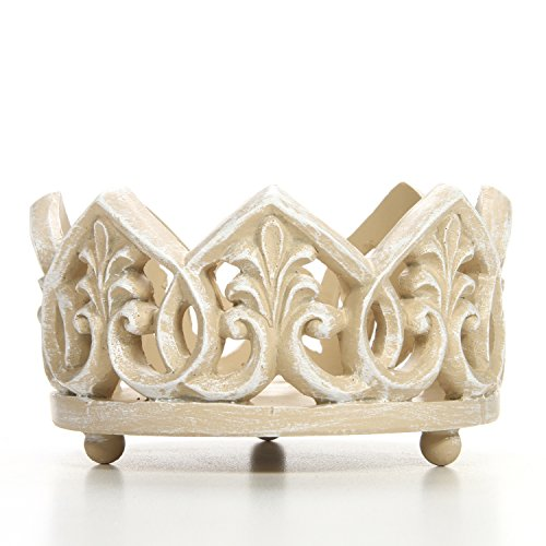 Hosley White Resin Pillar Holder, 4.5″ Diameter. Ideal Gift for Wedding, Party, Special Oc ...