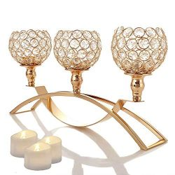 Manvi Gold Crystal Candle Holders, 3 Holders Metal Candelabra for Mothers Day Wedding Gifts Wedd ...