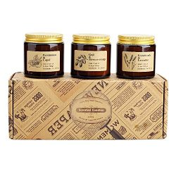 Scented Candles, Gift Set of 3 Rustic Apothecary Amber Jar Soy Candles – Natural Organic S ...