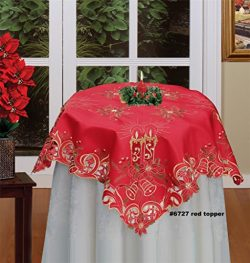 Creative Linens Holiday Christmas Embroidered Poinsettia Candle Bell Tablecloth 33×33 Squar ...
