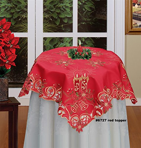Creative Linens Holiday Christmas Embroidered Poinsettia Candle Bell Tablecloth 33×33Squar ...