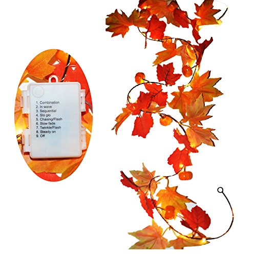 Gogo shopping 3 AA Battery Powered Lighted Fall Garland with 8 Mode – 8.2 Feet – Sha ...