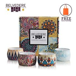 Belvedere Home Scented Candles Gift Set, 4 Pieces – Decorative Natural Soy Wax Lavender, R ...