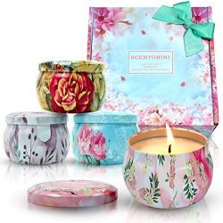 Scentorini Scented Candles Gift Set, Peony, Cinnamon Apple, Lavender and Rose, Natural Soy Wax,  ...