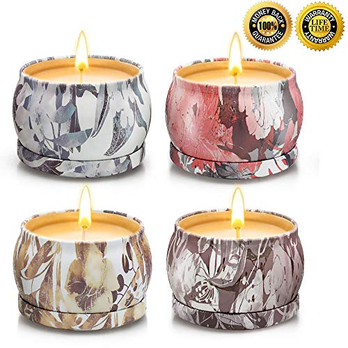 YINUO LIGHT Scented Candles Gift Sets Aromatherapy Candles, Upgraded Large Tin of Natural Soy Ca ...
