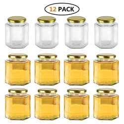 Encheng 16 oz Clear Hexagon Jars,Glass Jars With Lids(Golden),Mason Jars For Herbs,Foods,Jams,Li ...
