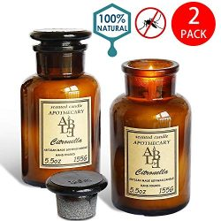 XYUT Set of 2 Citronella Candles Apothecary Collection Soy Wax Blend Candle in Glass Jar, 5.5 Ou ...