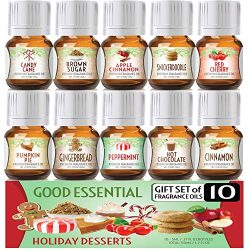 Holiday Desserts Good Essential Fragrance Oil Set (PACK OF 10) 5ml Set – Peppermint, Apple ...