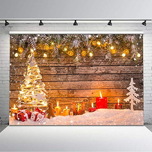Mehofoto Christmas Photography Backdrop Christmas Tree Bright Lights Background 7×5 Candle  ...