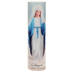 Lady of Miracles, LED Flameless Devotion Prayer Candle, 4 Hour Timer, Religious Gift