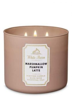 White Barn Bath & Body Works 3 Wick Candle Marshmallow Pumpkin Latte