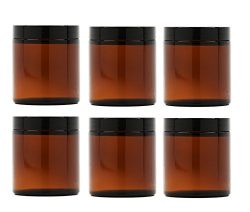 Premium Vials, 8 Oz AMBER Glass Jar Straight Sided with Black Lid – Pack of 6 (8 OZ, Amber)