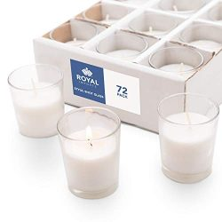 Royal Imports Votive Candles Bulk Set of 72 with White Candles Wax Filled in Clear Glass Holders ...