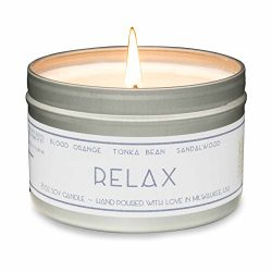 Gold Wave Goods Scented Candle – Relax (Blood Orange/Sandalwood) – Natural Soy Wax A ...