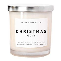 Christmas Candle Natural Soy Wax Candle White Jar Silver Lid Scented Apple Cider Cinnamon Fresh  ...